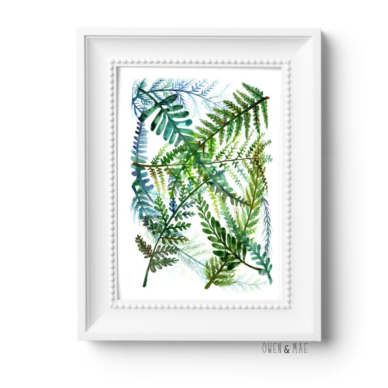 Watercolor Fern Print in white frame