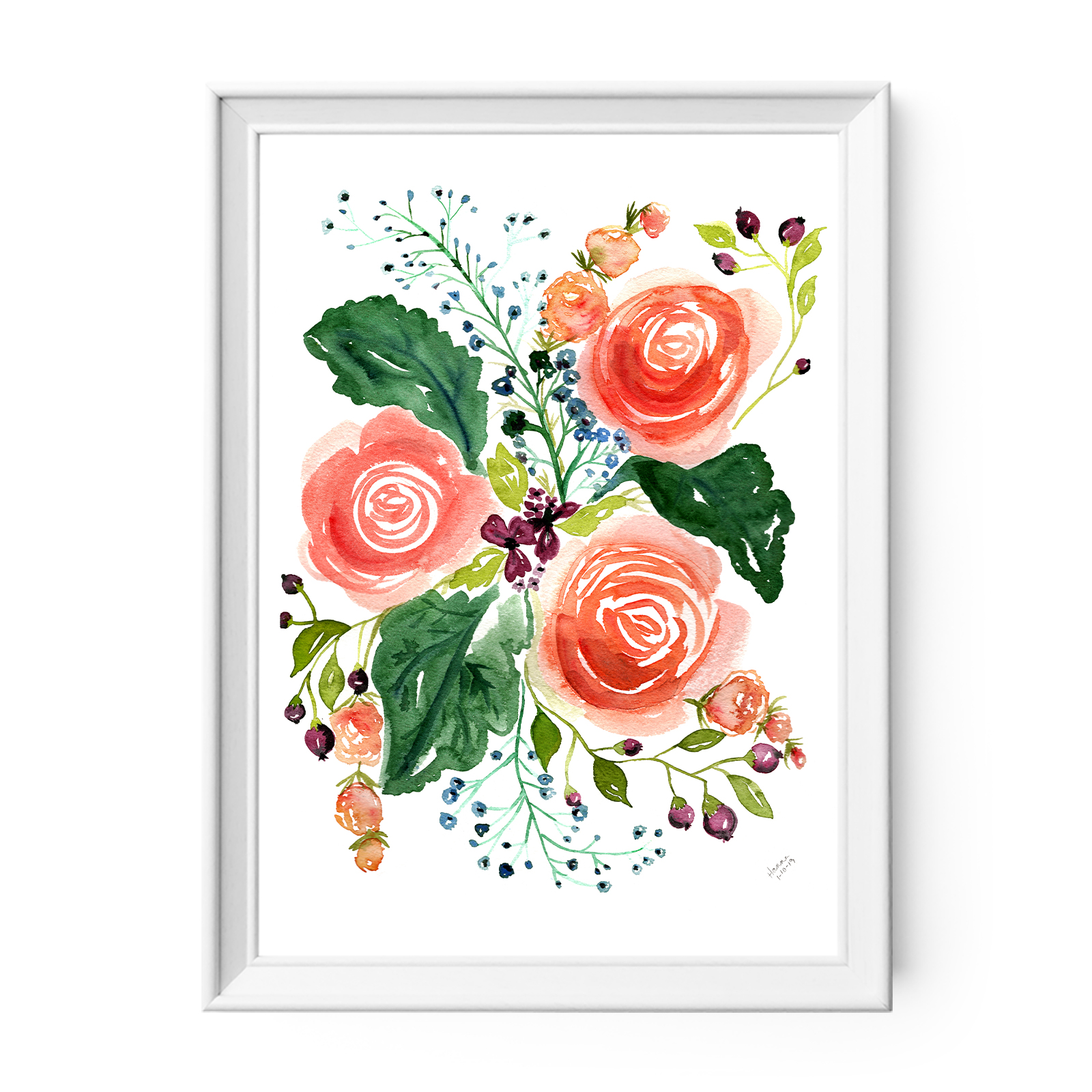 Watercolor Floral Print Coral Roses And Berries Owen Mae