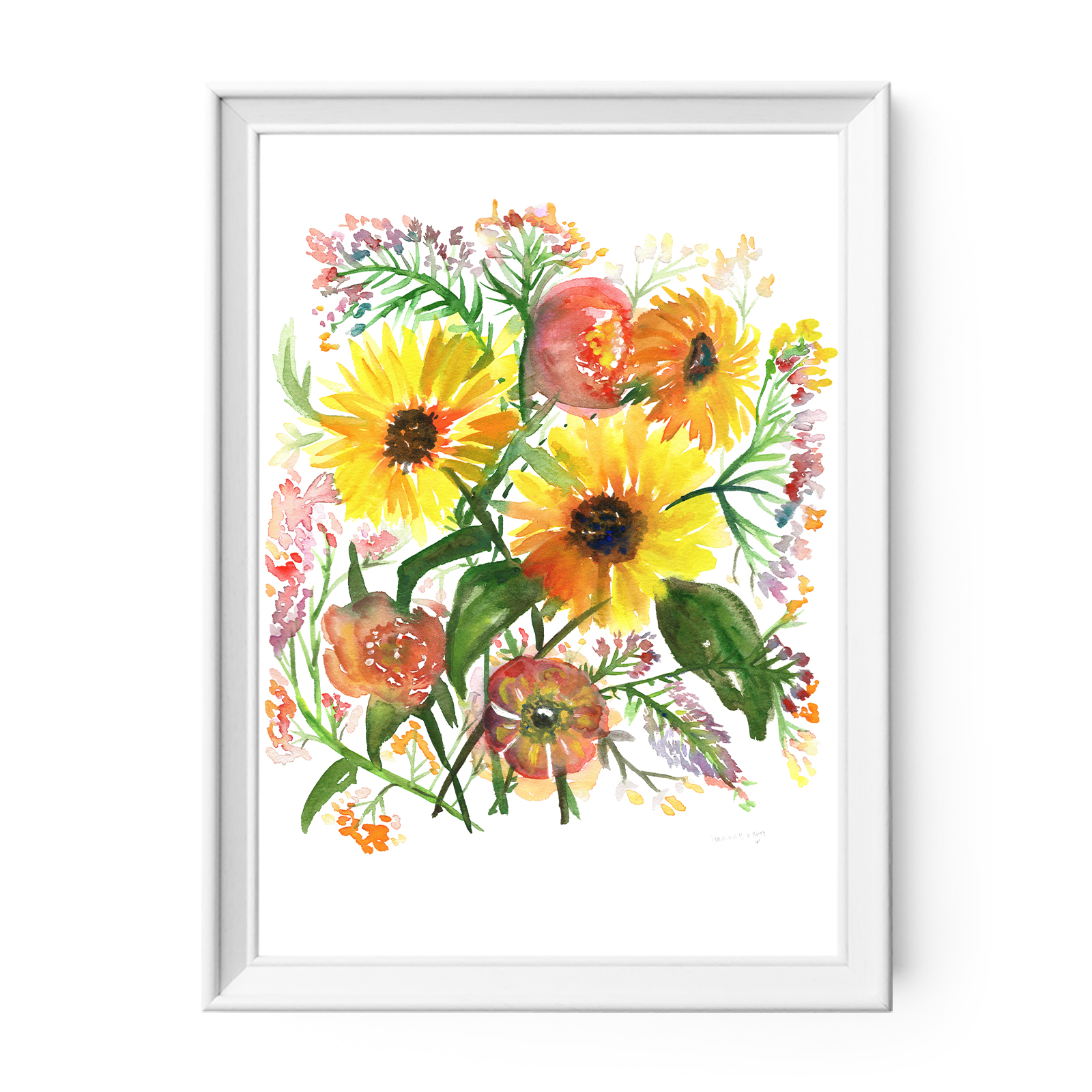 Watercolor Flowers Print Sunshine And Sunflowers Owen Mae