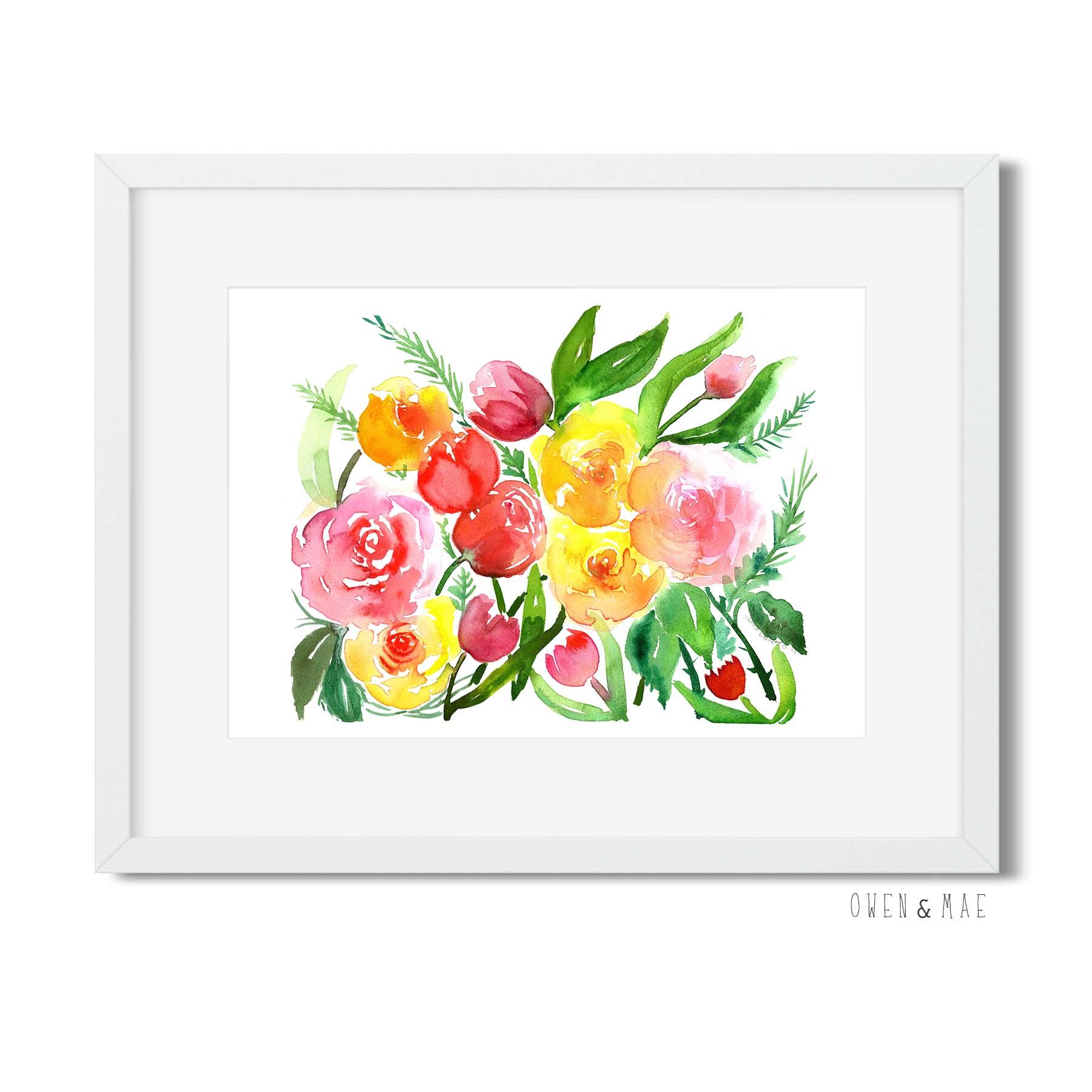 Watercolor Flowers Print